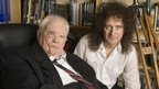 Sir Patrick Moore with Queen guitarist Brian May in 2007