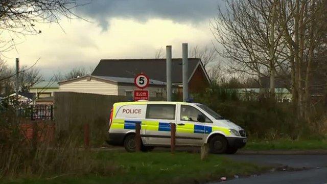 Police van outside Shirenewton caravan site
