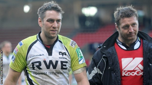 Ryan Jones and Ian Gough are dejected after the Ospreys&#039; defeat in Toulouse