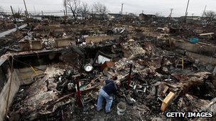 The remains of a neighbourhood n Queen's after Hurricane Sandy hit in December 2012.