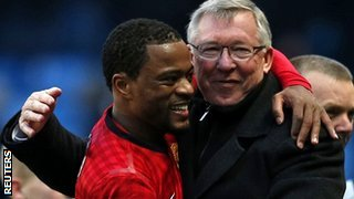 Sir Alex Ferguson embraces Patrice Evra