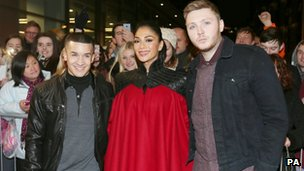 Jahmene Douglas, Nicole Scherzinger and James Arthur