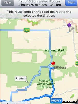 Image of Mildura inaccuracy on Apple Maps
