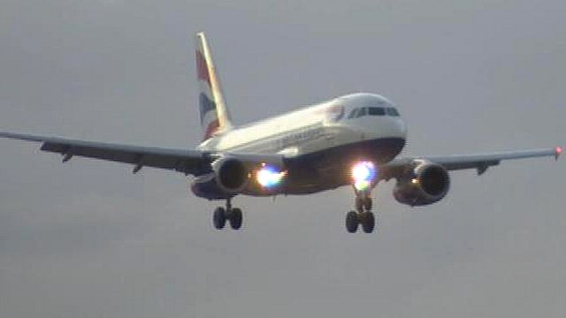 British Airways plane landing at Heathrow from Leeds