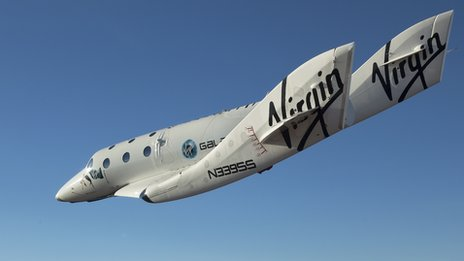 SpaceShipTwo, christened VSS Enterprise soars through the sky during a test flight in Mojave, CA, USA. Photo by Mark Greenberg