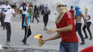 Rioting youth in Mameer, Bahrain (file photo)
