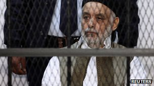 Al-Baghdadi al-Mahmoudi on trial in Tripoli, 10 December 2012