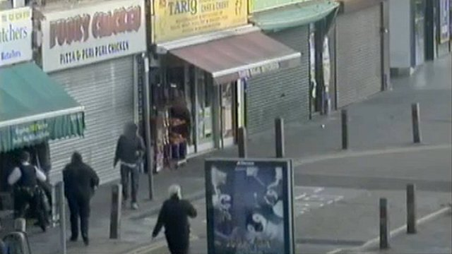 CCTV footage scene outside the butcher&#039;s shop