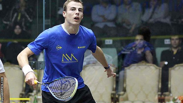 Nick Matthew plays a shot against Nicolas Mueller in his first-round win in Doha
