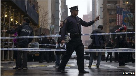 A policeman in New York after a shooting at Columbus Circle, New Yrok City