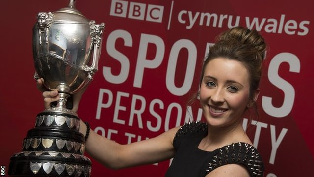 Jade Jones celebrates winning BBC Cymru Wales Sports Personality of the Year 2012