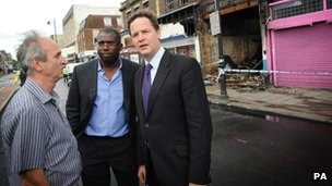 David Lammy and Nick Clegg meeting locals in Tottenham after the 2011 riots