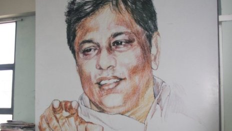 Portrait of Lasantha Wickrematunge in the Leader&#039;s offices