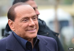 Former Italian Prime Minister Silvio Berlusconi at the AC Milan training grounds in Milanello, 8 December