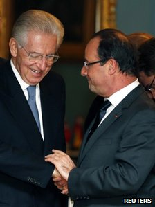 Italian Prime Minister Mario Monti (left) meets French President Francois Hollande in Oslo, 10 December