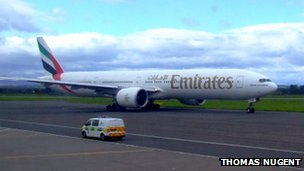 Emirates aircraft at Glasgow Airport