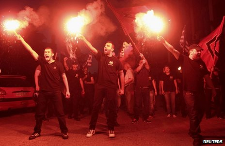 Golden Dawn members release flares in Thessaloniki, Greece, 17 June