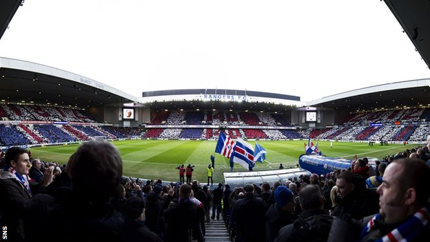 Rangers fans at Ibrox Stadium