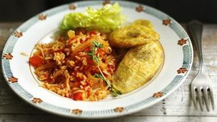 Jollof rice with fried plantains