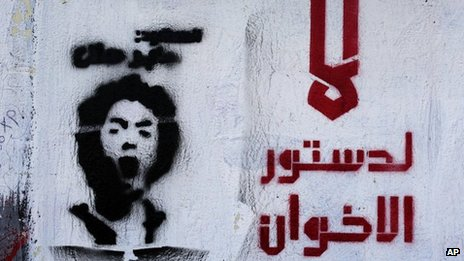 "Graffiti in Cairo saying: ""No to the constitution of the Muslim Brotherhood"" (10 December 2012)"