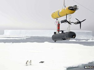 Robot sub over ice