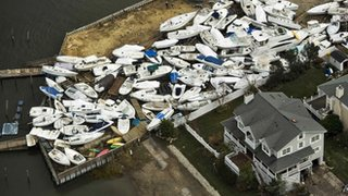 Boats damaged by storm Sandy