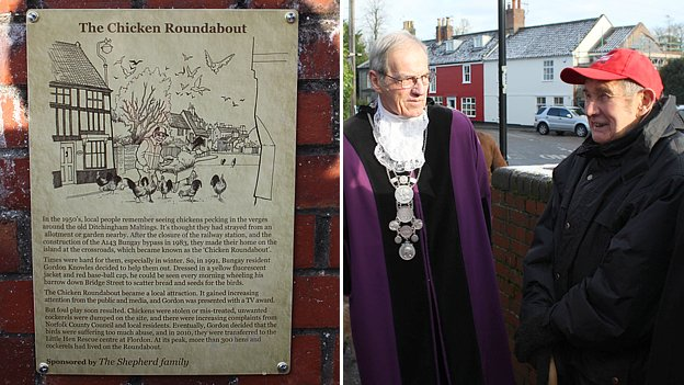 Left: Plaque describing the 'chicken roundabout'. Right: Bungay Town Reeve Richard Cundy (left) and 'chicken man' Gordon Knowles (right)