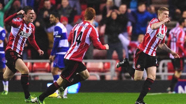 James McClean (right) celebrates giving Sunderland the lead