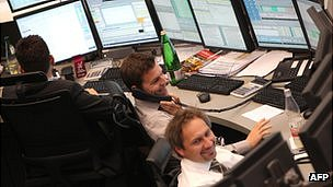 Frankfurt stock exchange traders - file pic