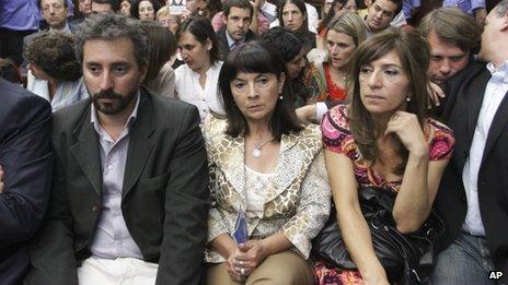 Susana Trimarco (centre) hears the verdict in the case