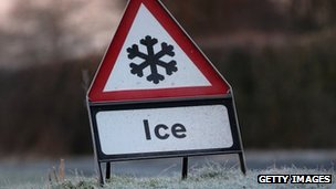 Ice warning sign