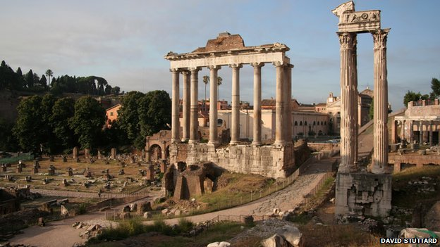 The Temple of Saturn at the west end of the Roman Forum in Rome. Photo courtesy of David Stuttard