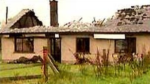 The remains of the house where the attack happened