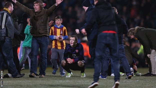 Jack Wilshere amongst celebrating Bradford fans