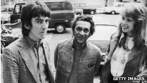 Ravi Shankar with George Harrison (left) and Patti Boyd in August 1972