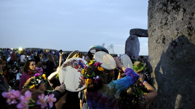 Pagans celebrate the Summer Solstice at Stonehenge in 2012