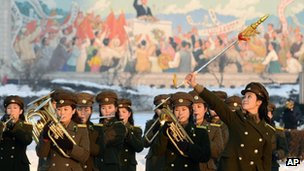 Female members of a North Korean military band perform in celebration of the country's rocket launch in Pyongyang, North Korea, 12 December 2012