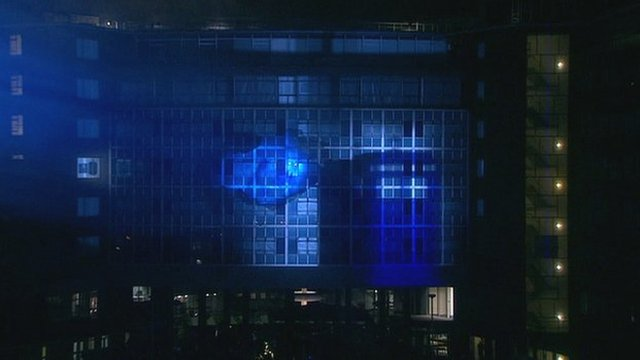 Tardis in BBC Television Centre 3D lights show