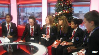 Pupils from Oasis Academy MediaCityUK on the BBC Breakfast sofa