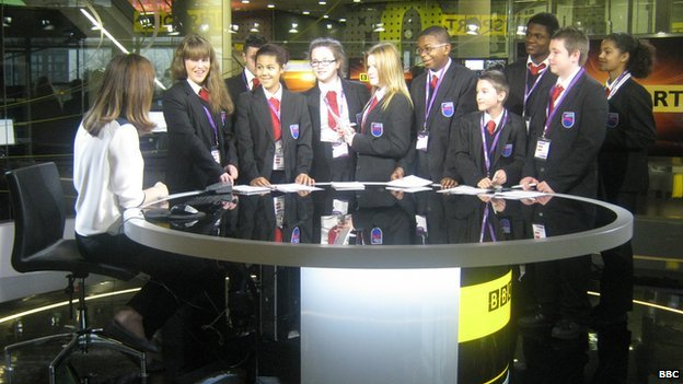 BBC presenter Sally Nugent with pupils from Oasis Academy MediaCityUK
