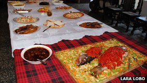 A Goan Christmas table laid out with food