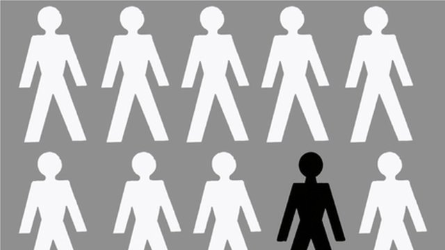 Graphic illustration showing white cut-out stick people figures and black cut-out stick figure person