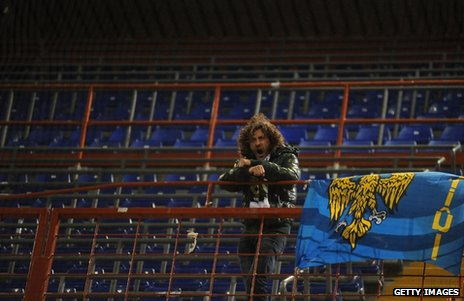 Arrigo Brovedani in the away supporters&#039; end of Sampdoria&#039;s stadium