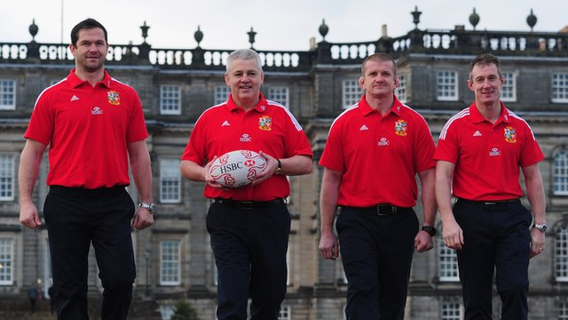 The Lions Coaching team, from left to right, Andy Farrell, Warren Gatland, Graham Rowntree, Rob Howley