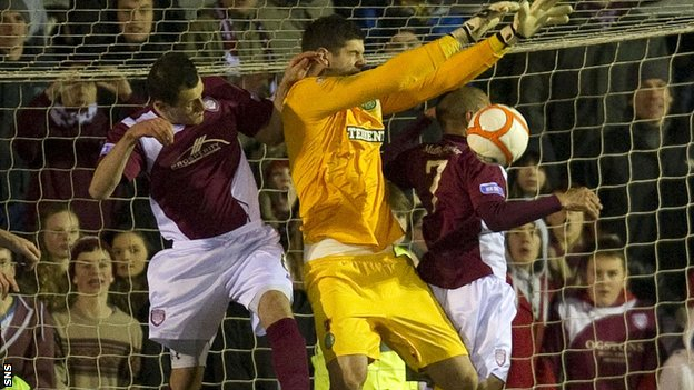 Arbroath were denied a goal for a foul on Celtic keeper Fraser Forster