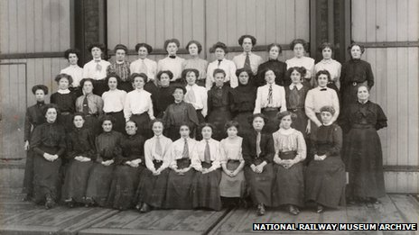 Women workers outside Doncaster works, South Yorkshire, c 1905