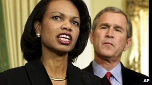 Condoleezza Rice and George W Bush in 2000