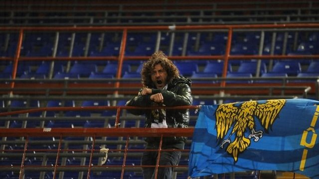 Arrigo Brovedani in the away supporters' end of Sampdoria's stadium