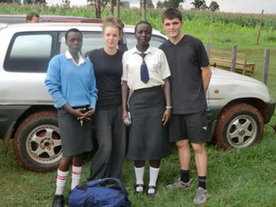 Bedford Academy pupils on a visit to their partner school in Kenya