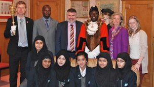 Bishop Okiring and Bedford Academy pupils and teachers meet